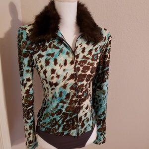 Joseph ribkoff faux fur collared jacket